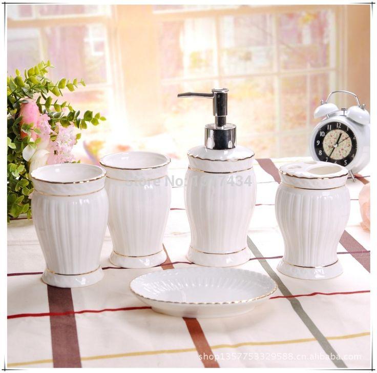 Высококачественный костяной фарфор пять частей керамических набор для ванной комнаты туалетные принадлежности зубная щетка держатель туалетные принадлежности аксессуары для ванной комнаты