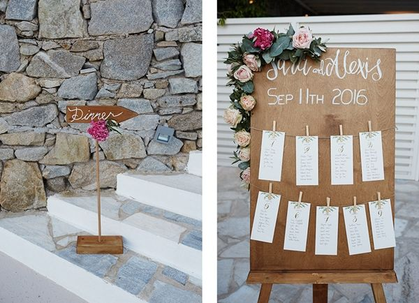 Custom made details, wedding signs, table seating plan | Luxury wedding in Mykonos