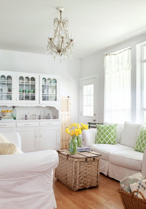 Insight from a field scout and stylist:  Turn the lights off, light fixtures skew the colors in spaces. Photograph the rooms in the best natural light without a flash, when the room is brightest, but when the sun is not streaming directly through the window