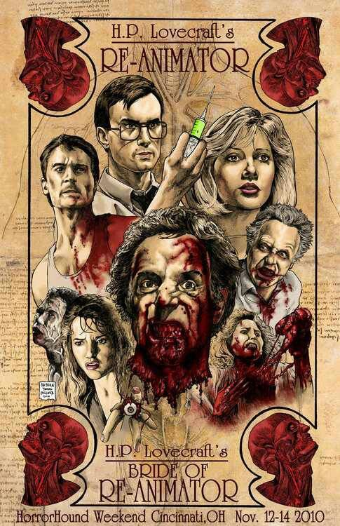Re-Animator - Horror movie poster  Howard Phillips Lovecraft wrote the original 'Herbert West – Reanimator' story back in 1921-22. It was made into a cult film, Re-Animator, in 1985.  Tags: zombies , news , cult movie , film
