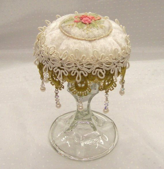 Victorian Vintage Look PinCushion Silk Ribbon Embroidery