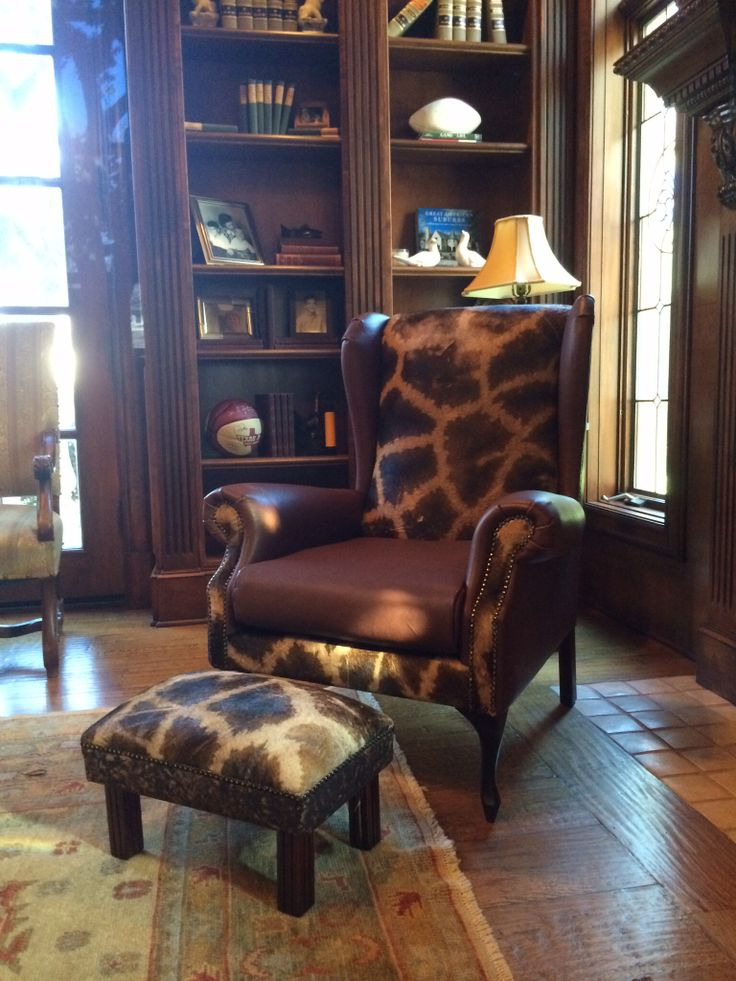 Giraffe chairs in their new setting from RSA to Texas, by www.hidesofafrica.com
