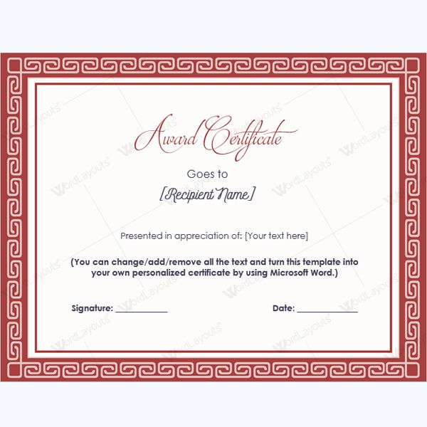 99 best Award Certificate Templates images on Pinterest Award - formal certificate template