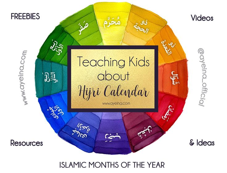 Free printables, videos (rhymes&anasheed without music - English&Arabic), products, resources, craft ideas, games and stories to teach kids about the 12 months in Islam (Hijri Calendar).