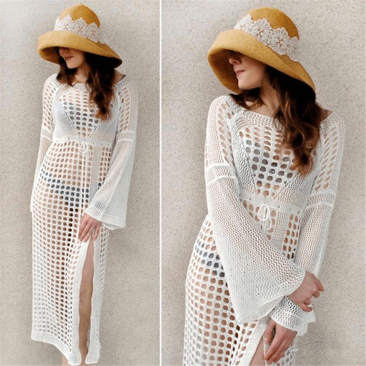 Hollow Out Crochet Women's Beach Cover Up Dresses