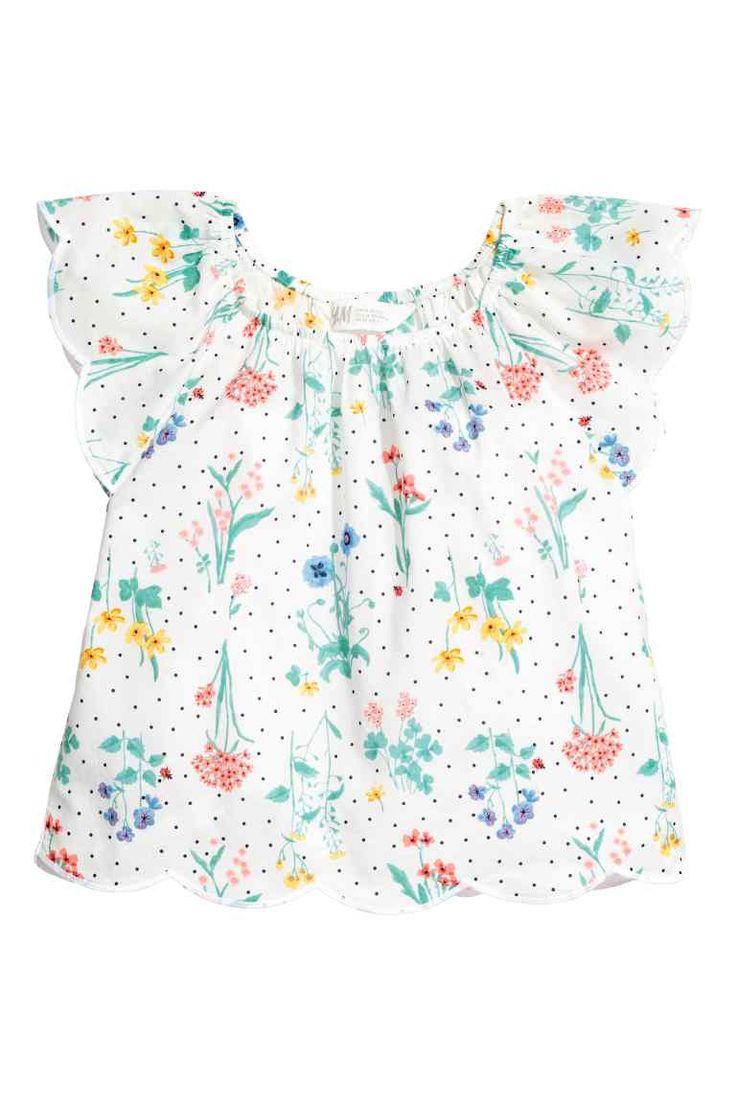 Blouse met vlindermouwen - Wit/bloemen - KINDEREN | H&M NL
