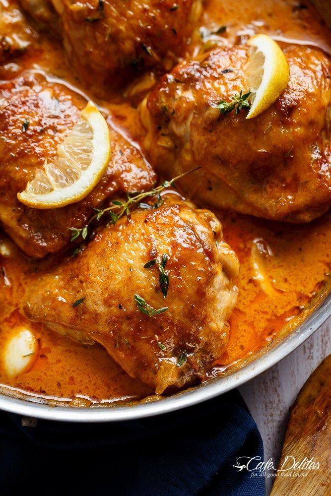 Creamy Lemon Garlic Chicken | http://cafedelites.com