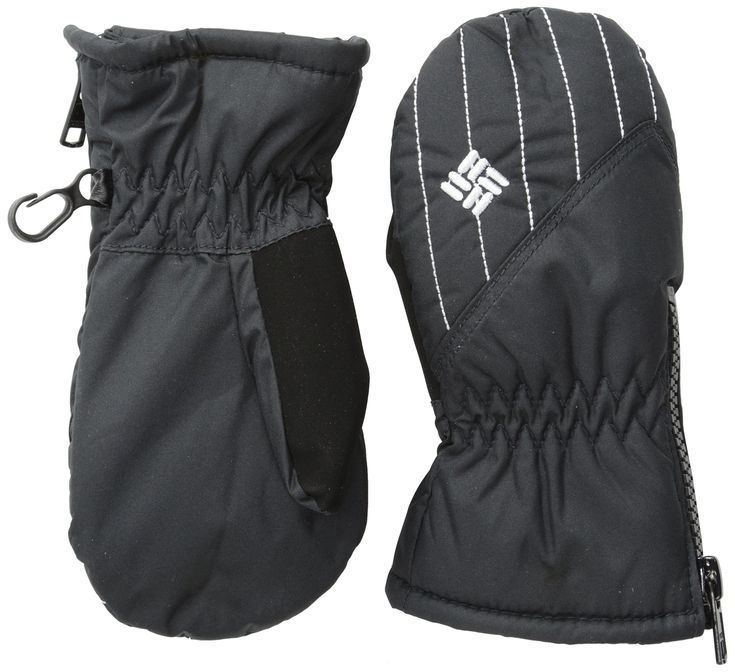 Columbia Boy's 8-20 Chippewa III Mitten, Black, One Size. Omni-Shield advanced repellency. Zip entry cuff. Pull tab at cuff. Nose wipe on thumb. Elastic at wrist.