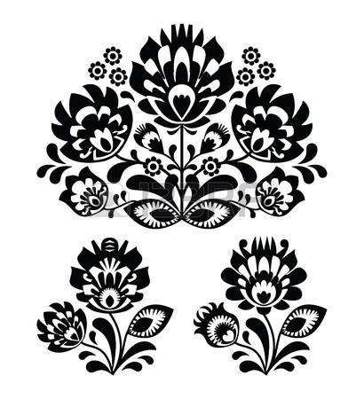 Bordado popular con flores - patr�n tradicional polaca photo