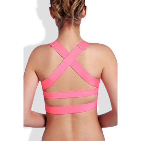 Yoins Neon Pink Cross-back Design Sports Bra ($15) ❤ liked on Polyvore featuring activewear, sports bras, pink, sexy activewear, red sports bra, criss cross back sports bra, sexy sports bra and cross back sports bra