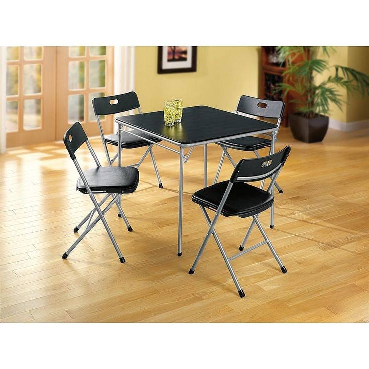 Card Table Folding 5 Piece Set Cushion Seats Kitchen Office Game Party Tables…