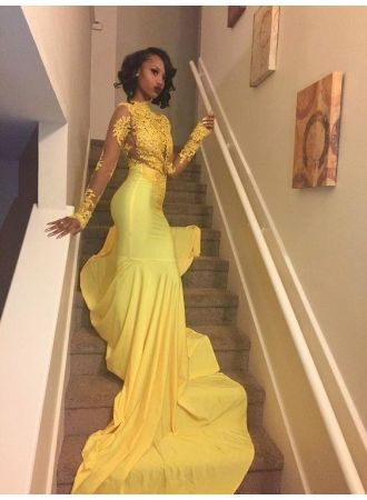 c8e0f2d1b9d68 Yellow Long-Sleeve Lace Mermaid High-Neck Beautiful Appliques Prom Dress