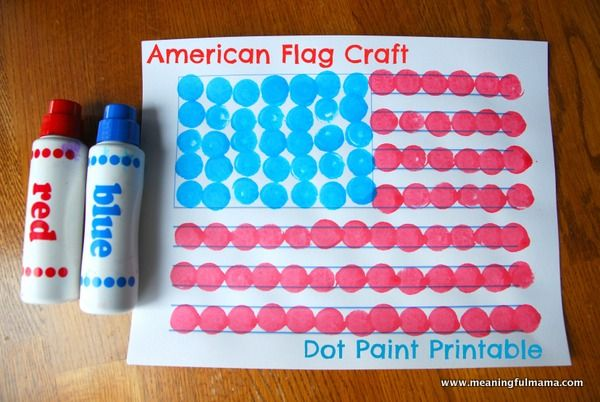 American Flag Craft with Dot Paints 1-#american flag #craft #dot paint #printable-001 This dot paint craft with printable is a lot of fun. It is an easy kid craft that makes a beautiful American flag.
