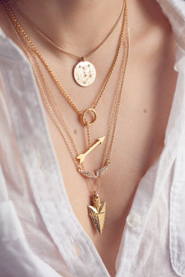 Layered necklaces.: