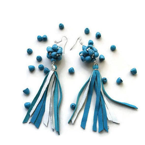 Tassel earrings Turquoise earrings Turquoise  jewelry Leather