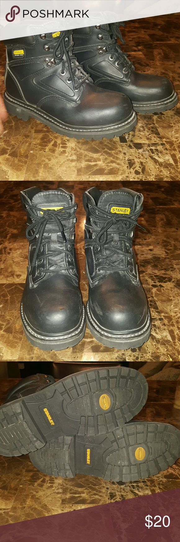 Stanley Steel Toe work boots Heavy duty steel toe lace up work boots with padded collar around upper part of boots provides excellent comfort. stanley Shoes Boots