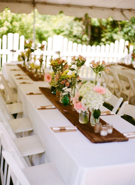 More manageable size banquet tables {reclaimed wood as a runner}