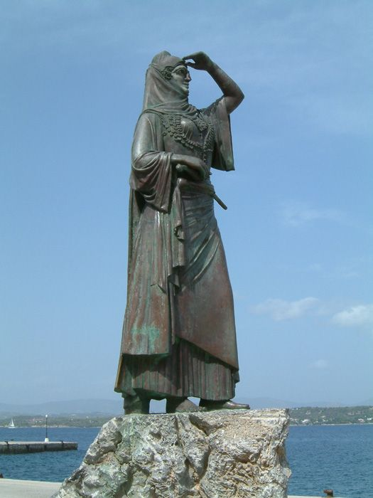 The statue of Laskarina Bouboulina, at the port of Spetses island. She was a Greek naval commander, heroine of the Greek War of Independence in 1821, and an Admiral of the Imperial Russian Navy