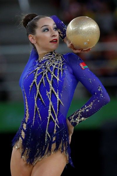 Belarus' Katsiaryna Halkina competes in the individual all-around final event of the Rhythmic Gymnastics at the Olympic Arena during the Rio 2016 Olympic Games in Rio de Janeiro on August 20, 2016. / AFP / Thomas COEX