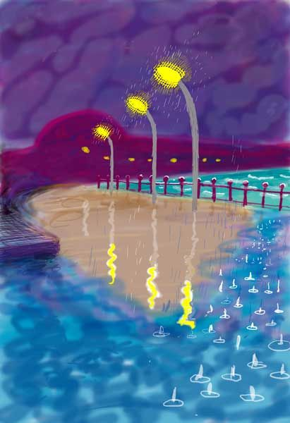 by david hockney, rainy night on bridlington promenade