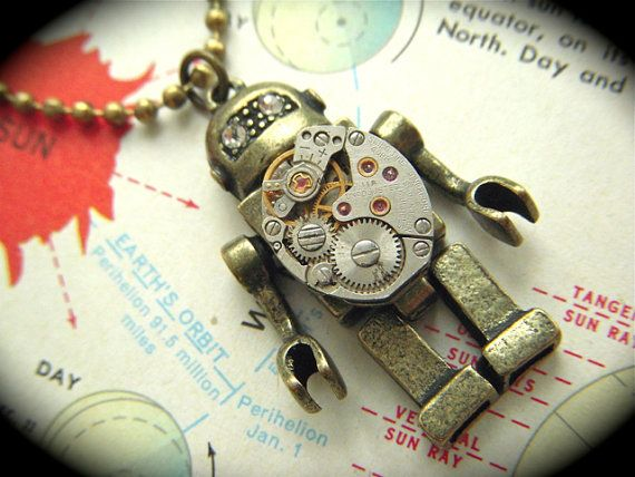 robot necklace: Vintage Watches, Steampunk Tiny, Steampunk Robots, Robots Jewelry, Necklaces Tiny, Robots Necklaces, Necklaces Steampunk, Tiny Vintage, Steampunk Necklaces