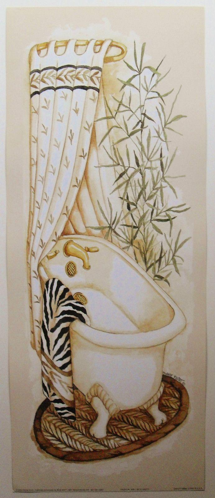 In the bathroom while taking a shower or a well deserved bubble bath - Home Decor Bathroom Bathtub Art Print Tropical Spa I By Diane Knott