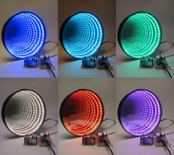 Ben Finio partage les instructions pour se fabriquer un miroir qui devient un puits sans fond lumineux et multicolore quand on allume des led à l'intérieur.