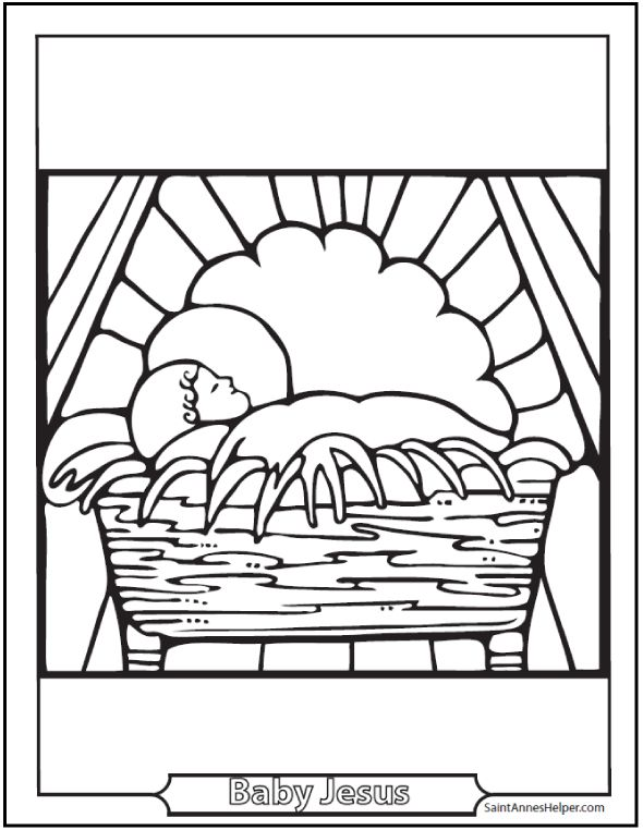 Coloring Page Nativity Scene Child Jesus Nativity Scene Coloring