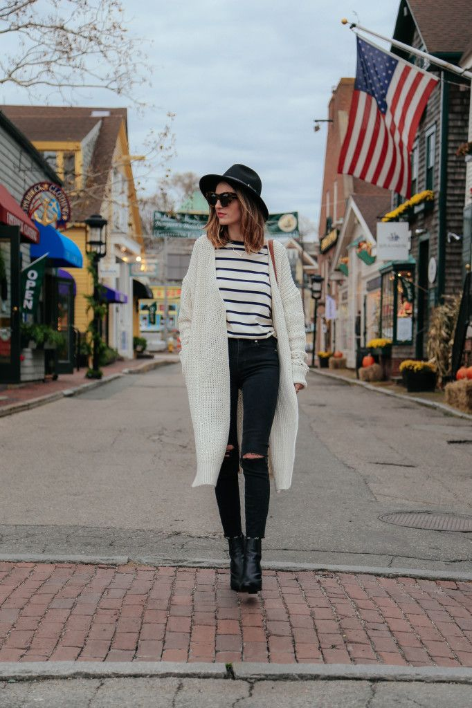 Oversize Sweater And Striped Tee
