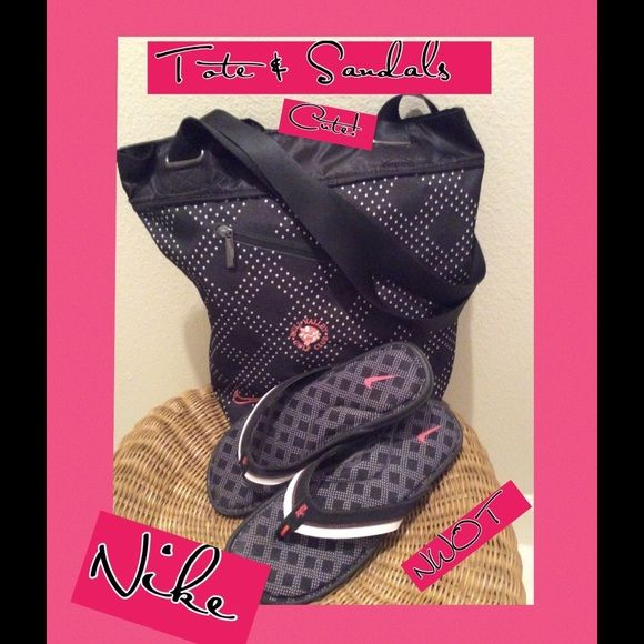 Nike Tote w/Flip Flops Cute❗️Reduced ❗️ Blank and White Nike Tote with Pink Accents. 2 mesh pockets can hold your comfortable Nike Flip Flops ( or any shoe) take Shopping or to the Beach. Tote is nylon and washes easily with damp cloth. Outside zipper pocket and shoulder straps. This has never been used. Flip Flops never worn. Selling both. (Bag pink flower with a golf club logo). But very cute. Nike Accessories