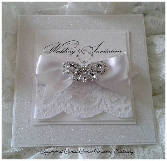 These Stunning Luxury Wedding Invitations Have Everything, Glitter, Lace,  Satin Ribbon Bows And