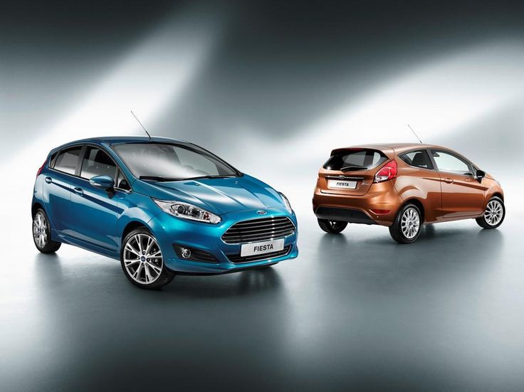 Ford Fiestas red and blue