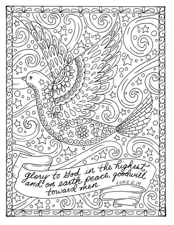 Christmas Coloring Page Dove Christian Scripture Adult Digi Stamp