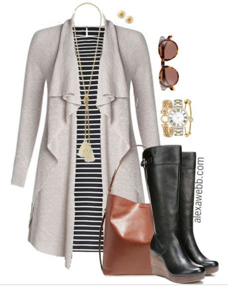 Plus Size Outfit Idea - Plus Size Fashion: Striped Dress and Wide Calf Boots - Alexa Webb #plussize #alexawebb