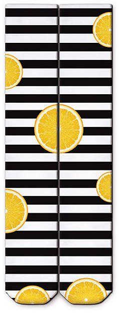 Black & White Stripe Orange Knee-High Socks  #ad