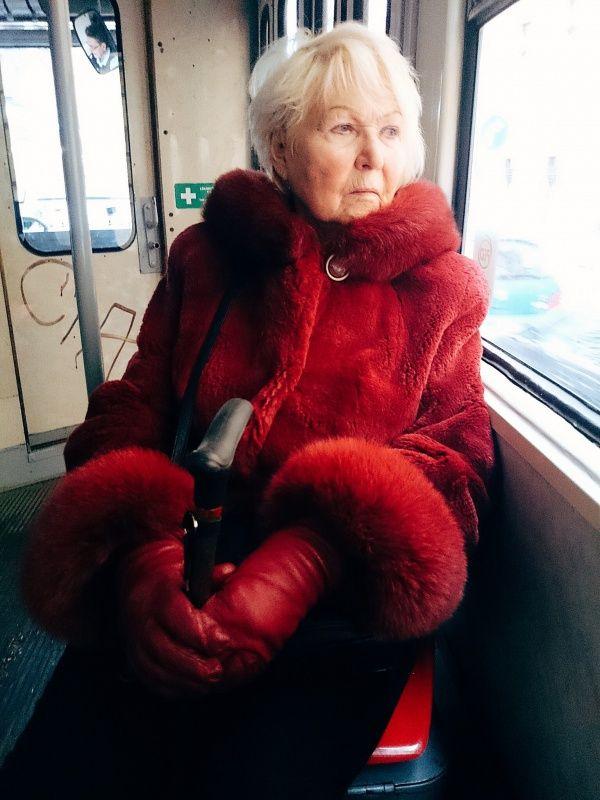 Red Fur Tram Lady in #Prague