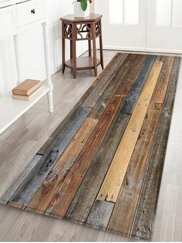 Vintage Wood Board Print Fleece Area Rug