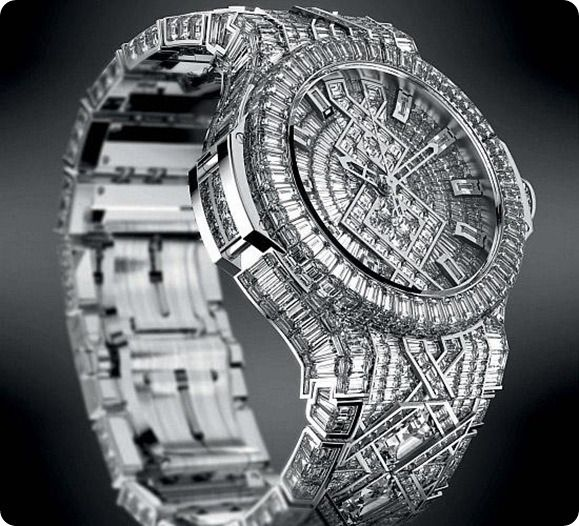 Hublot Diamond Price : $ 5 million Hublot Diamond is one of the most expensive and beautiful watch in the world. It is designed by adorned.It contain 1200 diamonds which is 140 carat in weight. The Hublot Diamond watch was made up of 18 carat white gold.