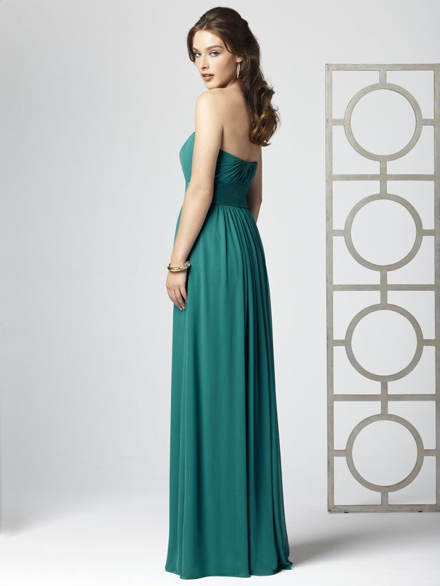 The strapless neckline is vertically ruched from the center and then the matte satin wide waistband defines the midriff. With a long flowing skirt, each lady will enjoy her showy walk down the aisle and you will have let them set the romantic theme of your ceremony. Dessy Bridesmaids 2860 is offered in a wide range of colors to suit your wedding theme. Happy ever after! Fabric:Lux Chiffon #timelesstreasure