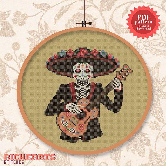 El Mariachi de los Muertos - Mexico / Day of the dead inspired guitar cross stitch pattern