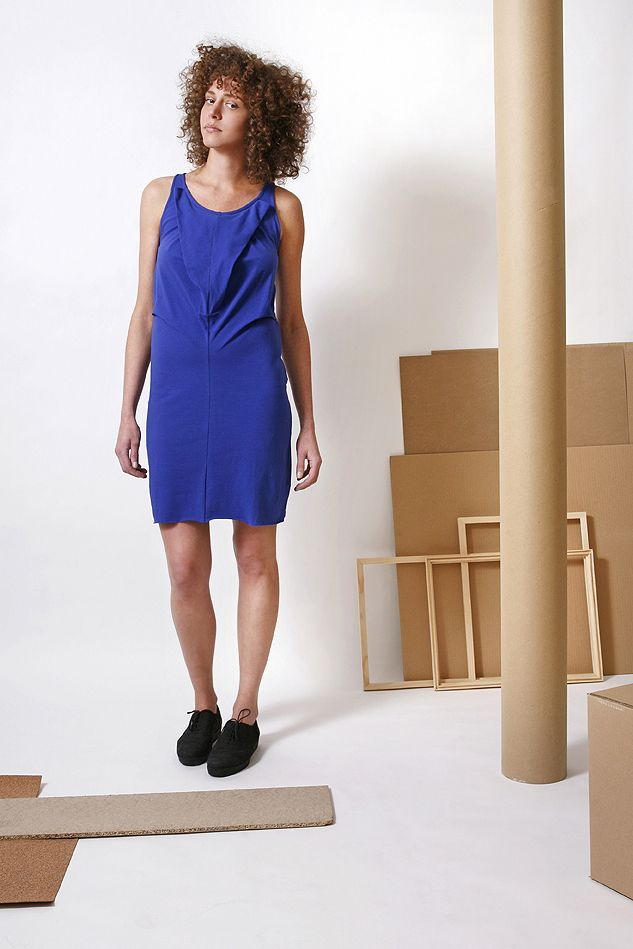 Be confident in this comfy cotton jersey dress with unique fold design in the front, from the 2014 S/S collection.