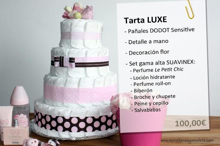 Tarta de pañales LUXE  100€ Más información a   info@nuevelunasyunsolete.com    (también disponible en azul)  Esta tarta dadas las dimensiones solo entrega en Valencia capital (España)
