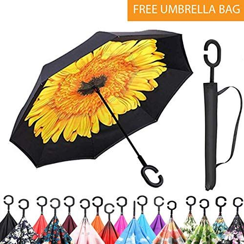 Double Layer Inverted UV Protection Unique Windproof Umbrella Reverse Open Folding Umbrellas with C Hook for Hanging on Points 3 Flowers Original Deals Inverted Inside Out Umbrella