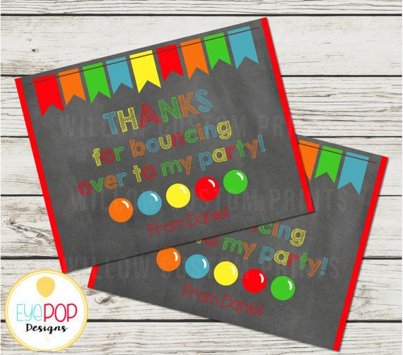 BOUNCE HOUSE Thank You Card, Birthday, Jumping Birthday Party, Jump Party, Colorful, Chalkboard, Printable