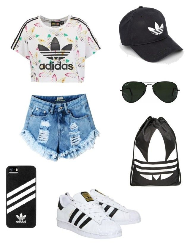 """Sporty look⚽️"" by yasmin-bach-rasmussen on Polyvore featuring adidas Originals, adidas and Ray-Ban"