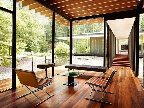 Wood steel modern living room leather glass