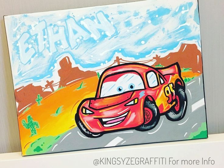 I painted this Cars canvas for Ethan 💥 DM to order #graffiti #canvas #art