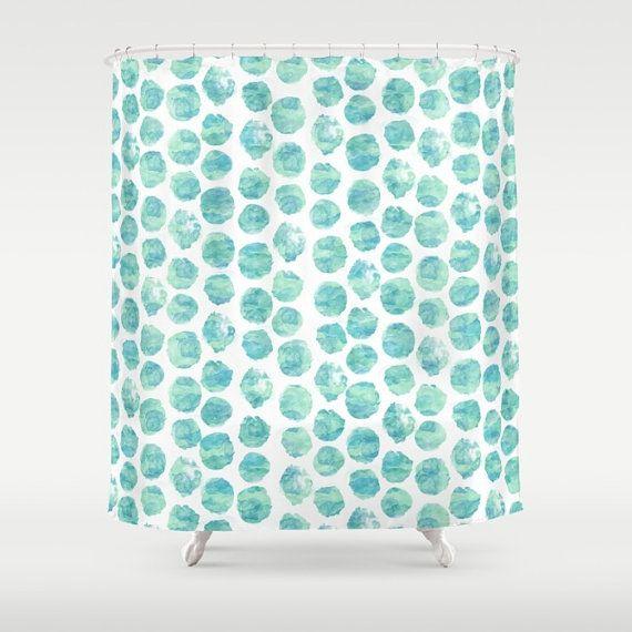 Rideau de douche turquoise à pois pois par TheTangledPath sur Etsy
