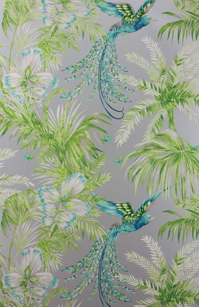 Matthew Williamson in collaboration with Osborne & Little. The Bird of Paradise wallpaper from the 2015 Samana collection. A bird with fabulous plumage swoops between fronds.