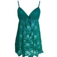 Alivila.Y Fashion Sexy Lace Lingerie Sleepwear Sleep Dress Set With G-String 402-Green-One Size Fits Size 2 to 12